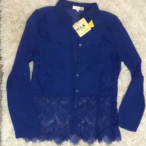 Ina NWT size L colbalt blue lace sheer top